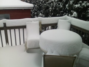 Our patio table with a foot-plus of snow on top