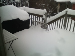 Our grill, unattainable.  Look at the the drifts on the baby gate.